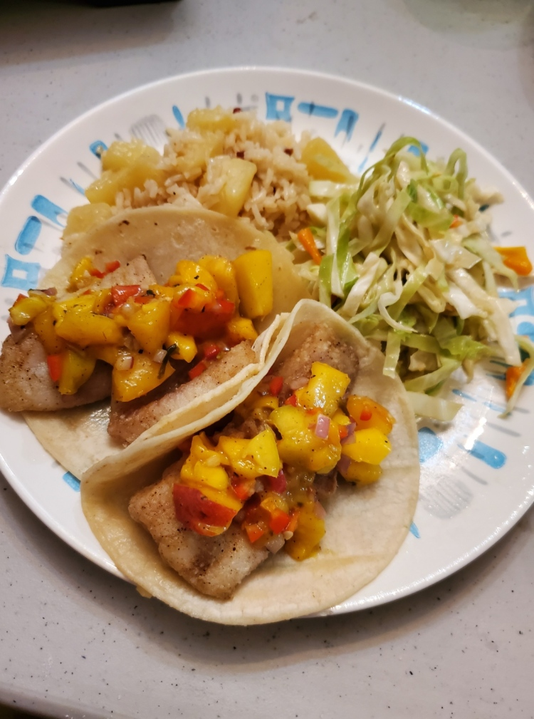Peach Mango Fish Tacos with Pineapple and Pepper Rice and Peanut Asian Slaw on the side