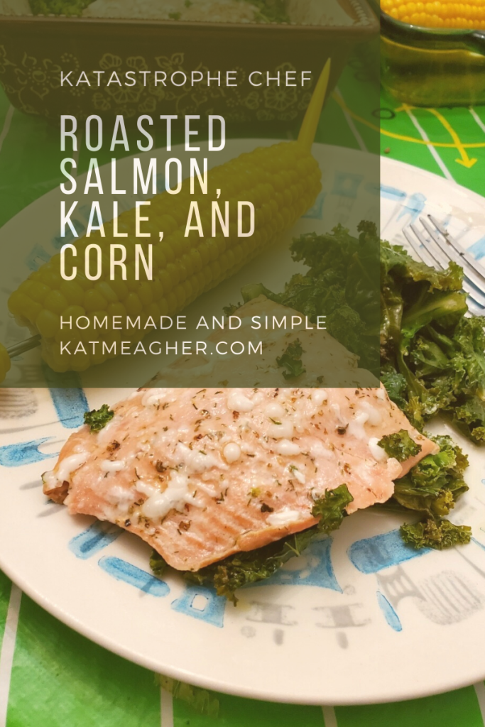 Roasted Salmon, Kale, and Corn on the Cob